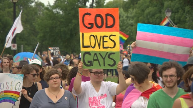 Thousands of people took part in the first Pride parade in Steinbach, Man.