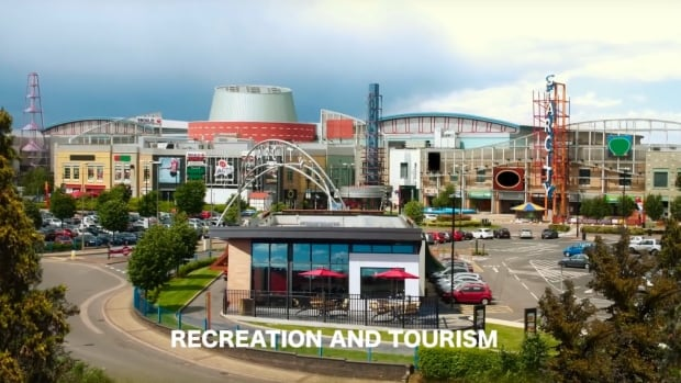 "A still image from a promotional video depicting a vision for the recreational and tourism-related ""precinct"" of the proposed development."