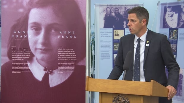 Mayor Brian Bowman at Anne Frank exhibit launch