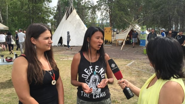 Tania Larsson and Melaw Nakehk'o of Dene Nahjo are helping organize an urban hide tanning camp July 11-29 in Somba K'e Park in downtown Yellowknife.
