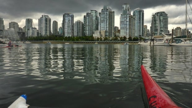 The False Creek area, pictured here, is vulnerable to flooding. City staff found a barrier to protect False Creek could cost up to $800 million.