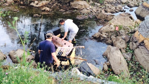 Couch discarded in lake was chopped up and removed Wednesday evening.