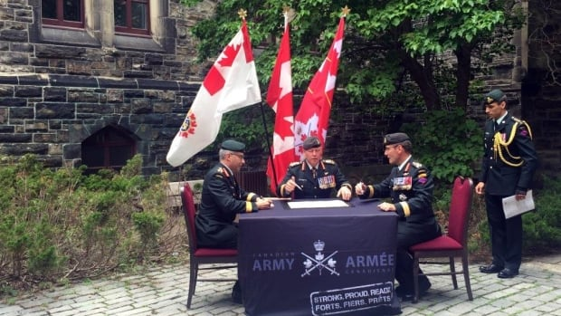 Lt.-Gen. Marquis Hainse formalizes the hand-over of leadership of the Canadian Army to Lt,-Gen. Paul Wynnyk during a formal ceremony held on Parliament Hill in Ottawa on Thursday. Gen. Jonathan Vance, Chief of the Defence Staff, presided over the event.