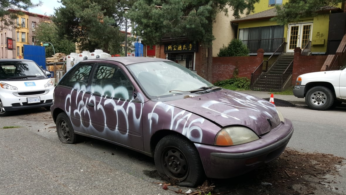 abandoned car frustrates strathcona residents british columbia cbc news