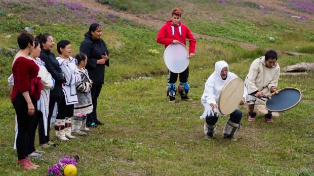 A drum dancing demonstration in Iqaluit, part of Qaggiavuut Arts Society's teacher's training workshops July 14-19.