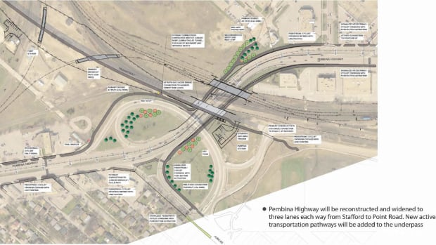 An artist's conception showing part of the second phase of the Southwest Transitway, showing the new crossing at Jubilee Avenue and a widened Pembina Highway.
