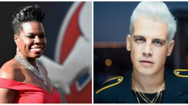 Breitbart writer Milo Yiannopoulos, right,  was suspended from Twitter on Tuesday night, following online abuse directed at Ghostbusters star Leslie Jones.