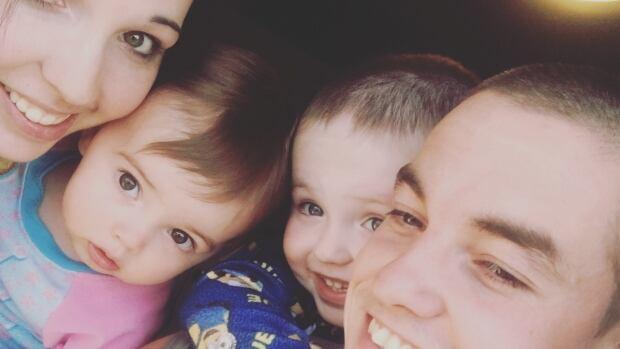 Aurora Roy-Clarke with her two children, and boyfriend Shannon Mugford.