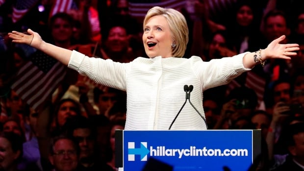 Hillary Clinton greets supporters at a rally in New York on June 7 after clinching enough delegates to secure the Democratic nomination over Senator Bernie Sanders.