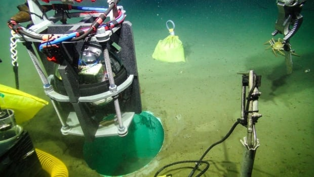 A Titan acceleromoter sensor that was installed deep underwater at the Cascadia fault.