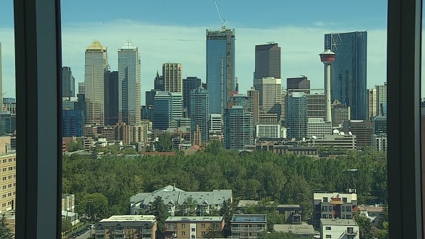 Calgary's skyline, seen from a condo that sold for nearly $8.4 million this week in the River complex near downtown.