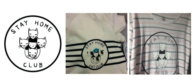 Stay Home Club logo and knockoff