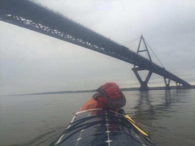 Paddling Deh Cho bridge Vallely