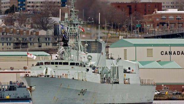 HMCS St. John's, a Halifax-class frigate, leaves its berth in Halifax in this April 2008 file photo. The federal government began refitting the navy's 12 frigates in 2010. Mould was discovered in the ventilation system of the St. John's in the fall of 2011.