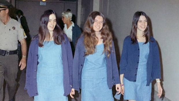 Charles Manson followers Susan Atkins, Patricia Krenwinkel and Leslie Van Houten, (left to right) walk to court in 1970. Atkins has since died, while Krenwinkel and Van Houten remain in prison.