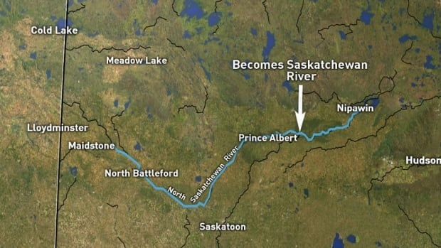 The course of the North Saskatchewan River highlighted from Maidstone to 