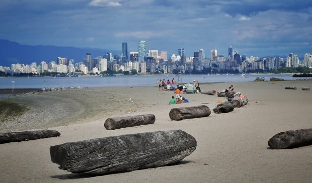 Beach, Vancouver skyline view from Spanish Banks