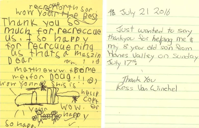 North shore rescue receives thank you letter from 8 year old cbc news the two letters written to north shore rescue by ross van winckel right and his 8 year old son north shore rescue expocarfo Choice Image