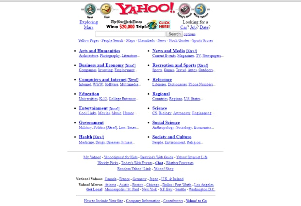 Yahoo home page in January 1997