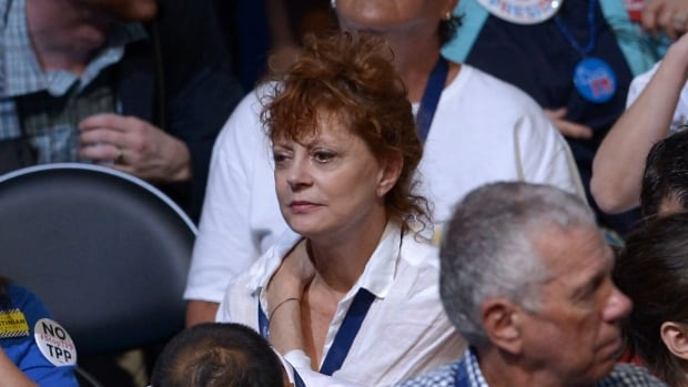 Actress Susan Sarandon sits among delegates on Day 1 of the Democratic National Convention at the Wells Fargo Center in Philadelphia on July 25, 2016.