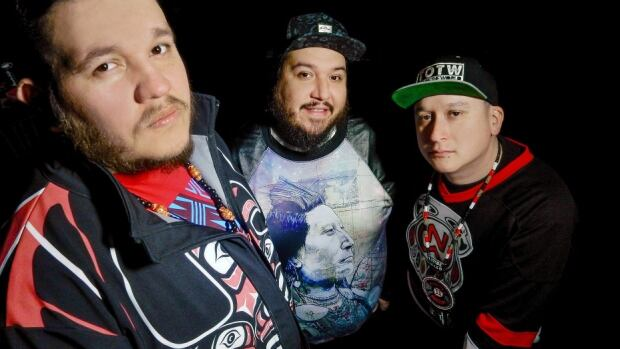 """DJ Bear Witness (centre) of A Tribe Called Red says, """"The way I was raised, I'm not Canadian or American, I'm Haudenosaunee. That's my citizenship."""""""