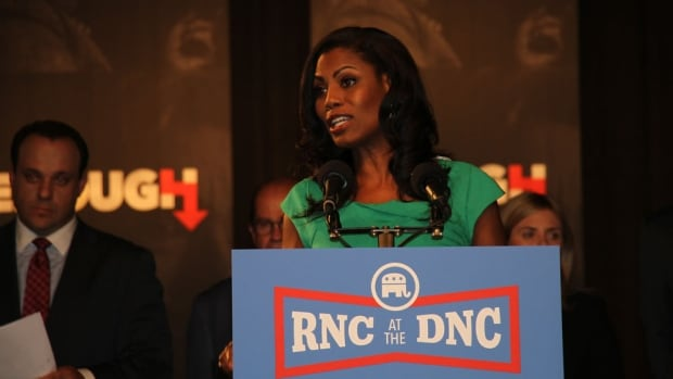 Omarosa Manigault, director of African-American outreach for the Donald Trump campaign, speaks at a news conference by the Republican National Committee on Tuesday. The RNC is trying to make sure the Democrats don't 'own the news cycle' during their convention.