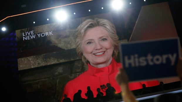 Democratic presidential nominee Hillary Clinton addresses the Democratic National Convention via a live video feed from New York during the second night at the Democratic National Convention in Philadelphia.
