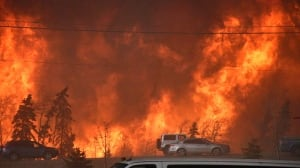 A wall of fire in Fort McMurray