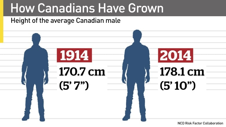 Canadians still getting taller, but not as fast as others