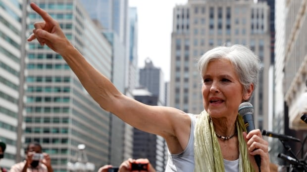 Jill Stein, presumptive Green Party presidential nominee, speaks at a rally in Philadelphia, Tuesday, during the second day of the Democratic National Convention.