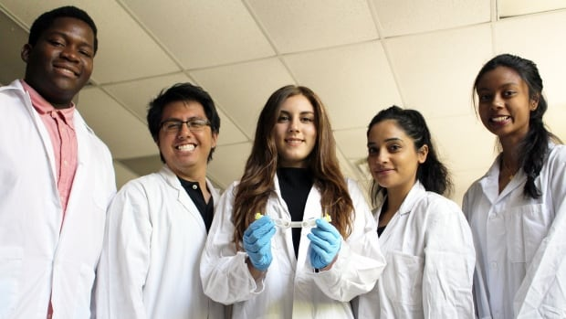 The experiment was designed by Preet Kahlon, Francis Buguis, Gemma Mancuso, and David and Mary Thomson Collegiate Institute high school students Modlin Orange and Kugenthini Tharmakulasekaram.