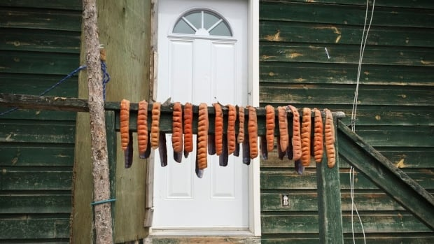 Dried fish, or pitsik, is a traditional Inuit way of preparing fish. The fish was being dried on the railing of this house along a main road in Nain.
