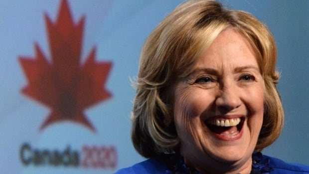 Hillary Clinton responds to a question during a question and answer session during a Canada2020 event in Ottawa in 2014.