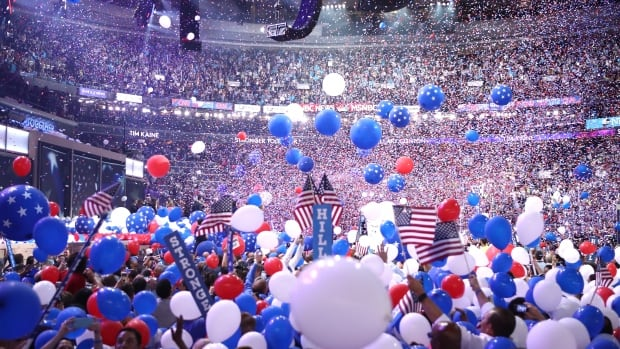 Tens of thousands of red, white and blue balloons were released from the rafters of the Wells Fargo Centre in Philadelphia during the fourth night of the Democratic National Convention.