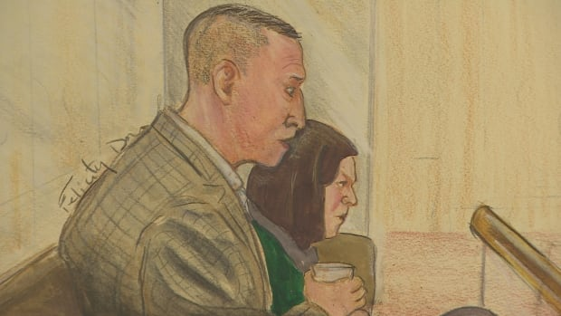 Artist drawing of John Nuttall and Amada Korody listening in court as the judge issues a stay of proceeding in their terror trial.