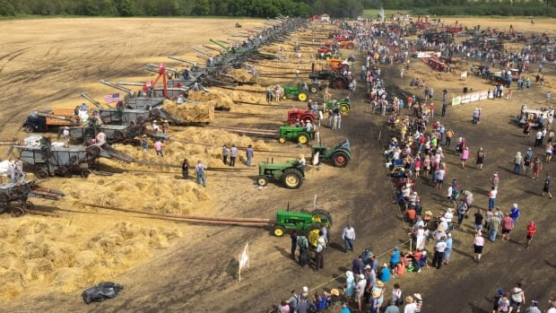 The view from above as antique threshing machines attempt to break a world record Sunday near Austin, Man.