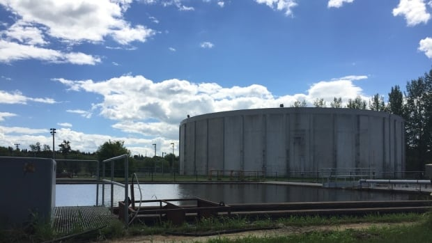 A water reservoir, part of Prince Albert's water treatment system. The city scrambled to find new water sources after Husky Energy's pipeline upstream broke, leaking oil into the North Saskatchewan River.