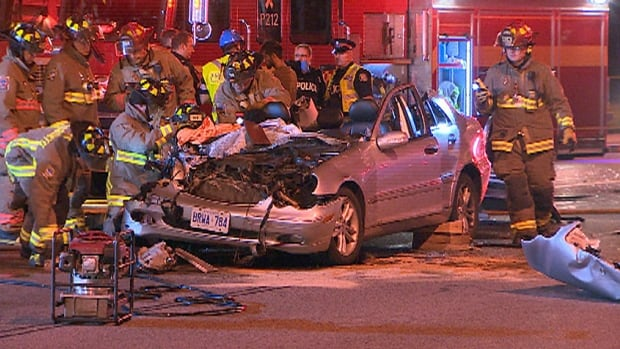 Five people were hurt when this car and a TTC bus collided early Monday in Malvern.