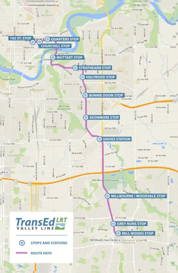 Valley LRT Route