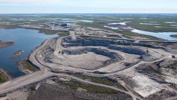 One of three open pits at the Gahcho Kue diamond miner located 280 kilometres northeast of Yellowknife. The union representing culinary and janitorial workers at the mine say they are considering a strike as a result of stalled negotiations with the contractor employing them.