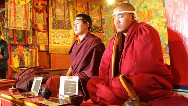 Tibetan monks monitoring brain activity during meditation