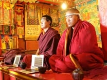 Karmapa Lama, known as Ogyen Trinley Dorje, with Tibet's spiritual leader the Dalai Lama in northern India in May 2011. (Reuters)