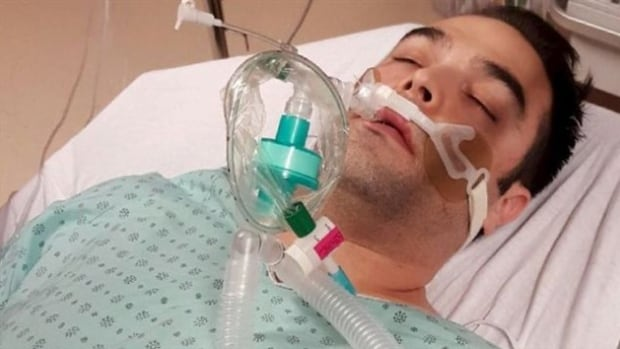 Simon-Pierre Canuel says he was in a coma for several days and 'almost died' after being served salmon by a waiter who was aware of his allergy.