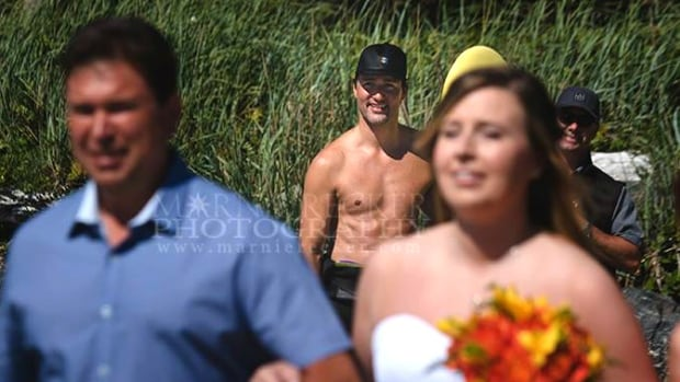 Prime Minister Justin Trudeau smiled as he watched a bride walk down the aisle during her wedding in Tofino, B.C.