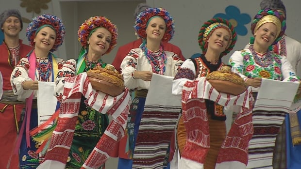 Ukrainian dancers perform at Alberta's  Ukrainian Cultural Heritage Village during a celebration of the 125th anniversary of Ukrainian immigration to Canada.