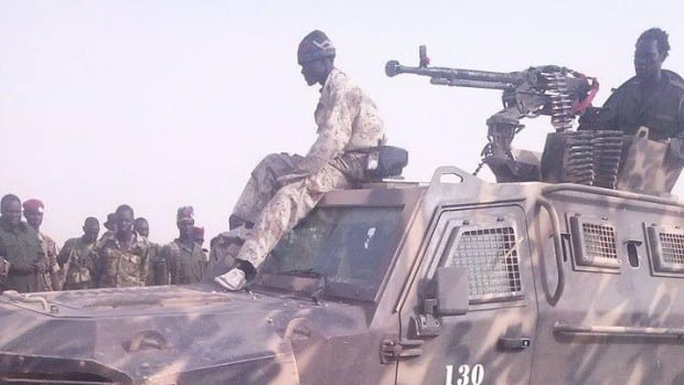 Photos given to CBC news show Streit vehicles in South Sudan outfitted with heavy duty machine guns and painted with camouflage in areas such as Unity State, where violence against civilians has been intense.