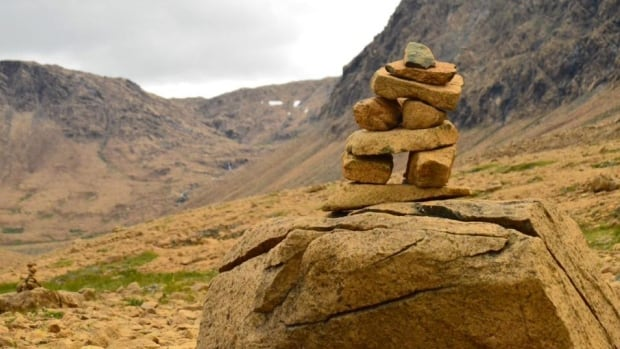 An inukshuk by the Tablelands trail in Gros Morne National Park.