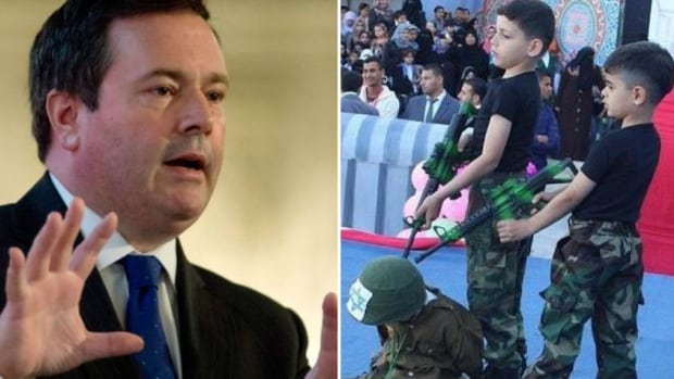 Alberta PC leadership hopeful Jason Kenney posted the picture on the right to Twitter to make a point about anti-Semitism.