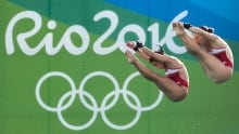 Meaghan Benfeito Roseline Filion 10m syncho diving Aug 9 2016 Rio Olympics