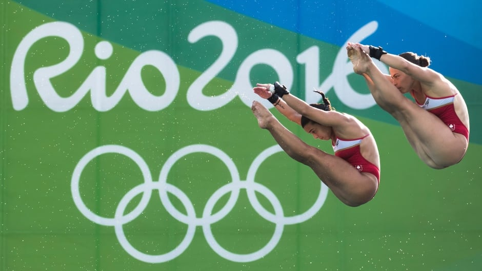Meaghan Benfeito (left) won the 10m synchro bronze with partner Roseline Filion (right) at the Rio Olympics on August 9, 2016.